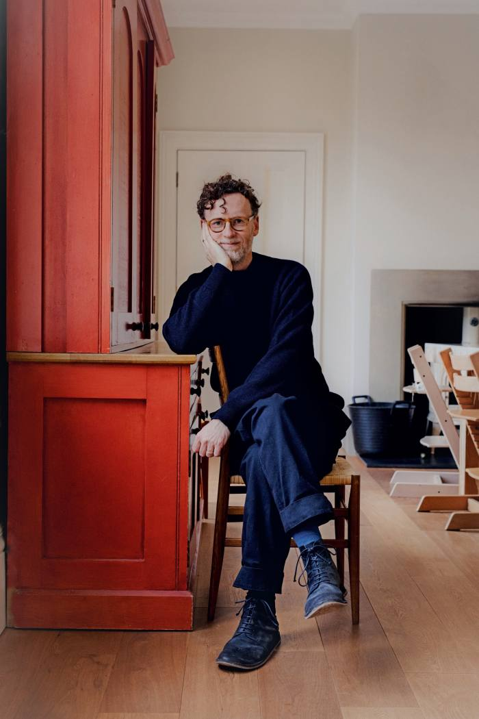 Matt wears MHL. byMargaret Howell merino-wool crew-neck jumper, £125, andcotton drill trousers, £335. Glasses, shoes, socks and rings, his own