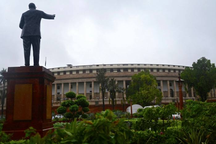 The Indian Parliament building in New Delhi