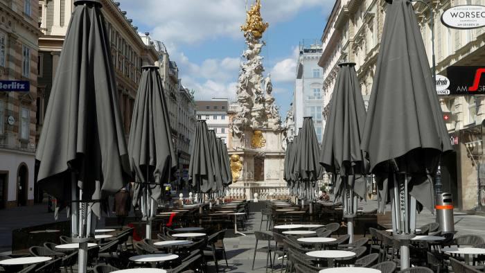 A closed cafe  in Vienna, Austria