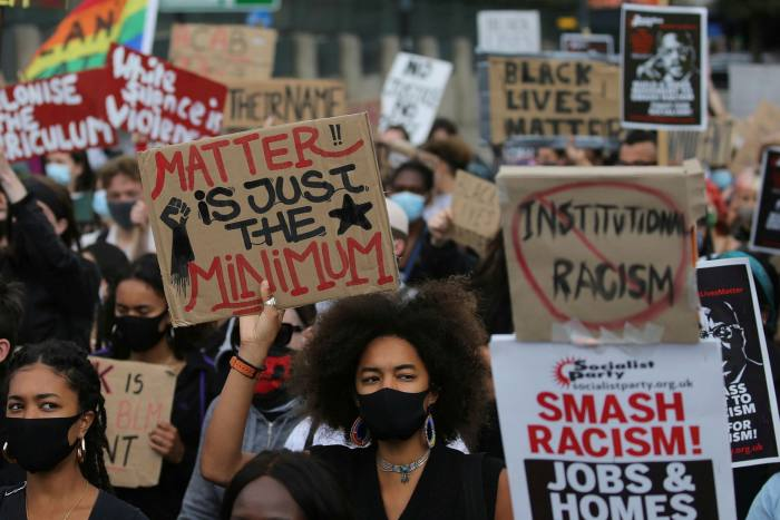 Protesters from a Black Lives Matter stage a rally in London on July 11 last year