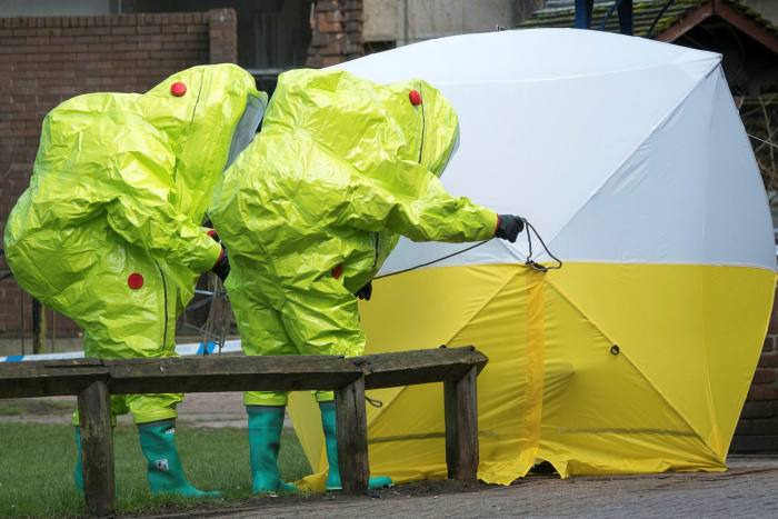Specialist officers investigating the poisoning of Sergei Skripal and his daughter Yulia in Salisbury, Wiltshire, in March 2018