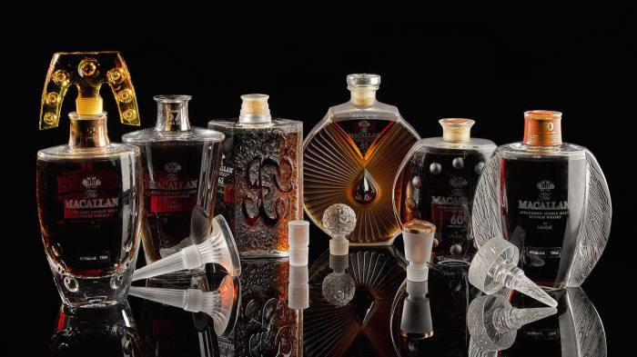 A collection of Macallan whisky housed in Lalique bottles, sold at Sotheby's for £423,500 on 18 March