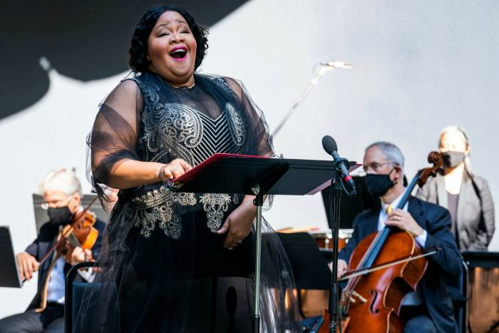 The Orpheus Chamber Orchestra performs a digital concert with Karen Slack (pictured) and Liev Schreiber in October