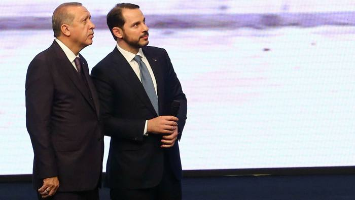 Recep Tayyip Erdogan, left, with Berat Albayrak in 2017. It had seemed as if the Turkish president's son-in law was being groomed as his successor