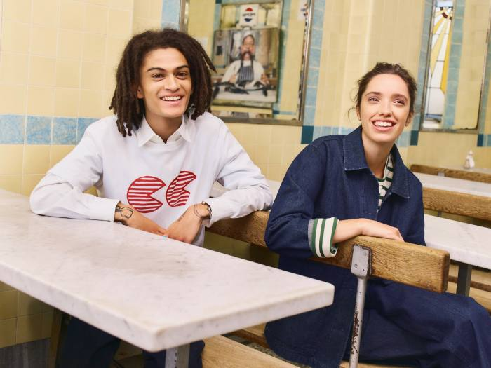Community Clothing is designed to create work for Britain's dwindling textile industry. On right: Chore jacket, £89, Breton top, £35, and Work trousers, £59