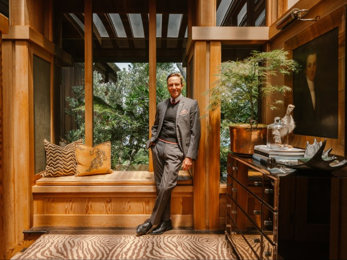 Fulk in the entryway of his home
