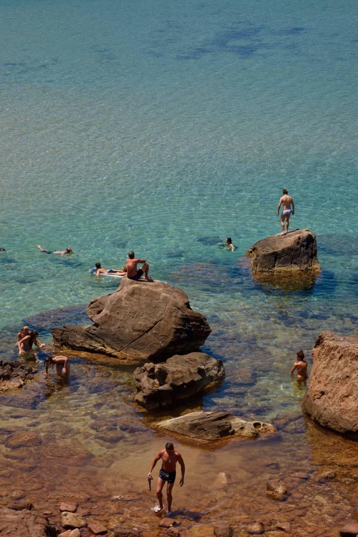 Swimmers at Playa de Cavalleria