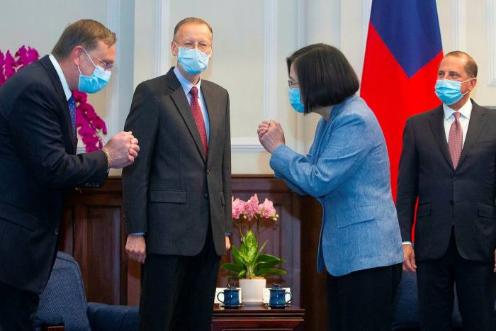 Taiwan's president Tsai Ing-wen, second from right, welcomes a US delegation led by secretary of health Alex Azar, right, during their visit to Taipei