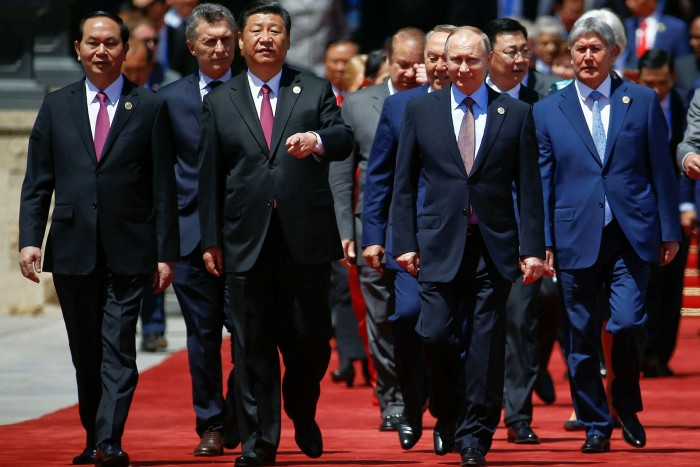 Chinese president Xi Jinping, centre, and other leaders at the Belt and Road Forum on Yanqi Lake in 2017. China's current rethink betrays a tacit recognition that its overseas lending bonanza has been ill-conceived
