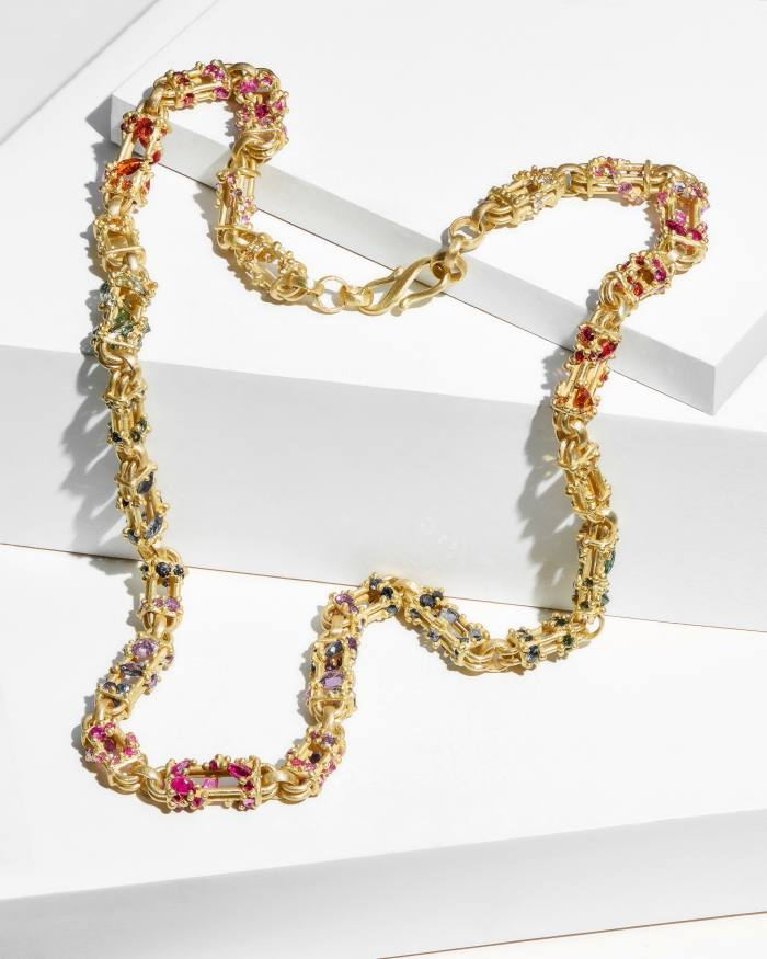 Polly Wales 18ct-gold and sapphire Bar Necklace, $44,495