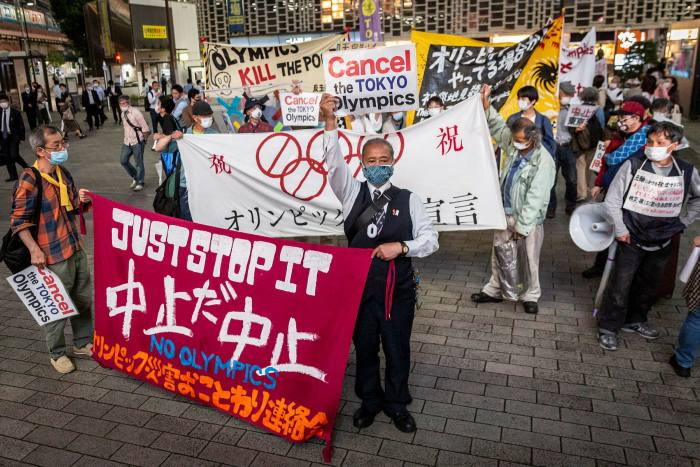 People protesting against the Olympics in Tokyo