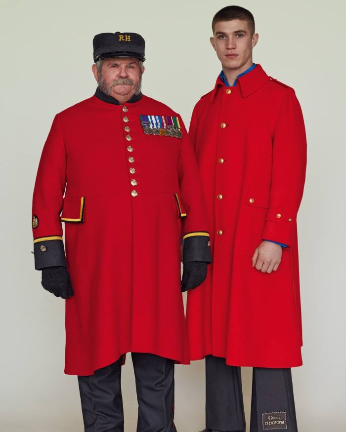 From left: Joe wears traditional Chelsea Pensioner uniform. Oisin wears Gucci vintage wool cloth coat, £3,350, silk crepe shirt, £610, and wool/mohair trousers, £750