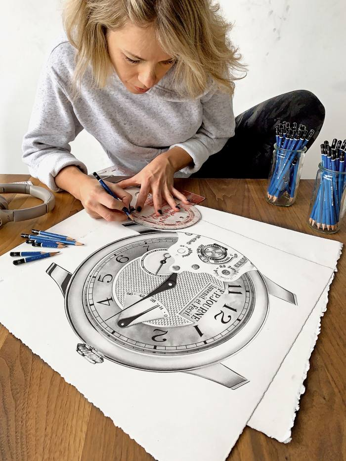 The artist drawing an FP Journe Chronomètre Souverain