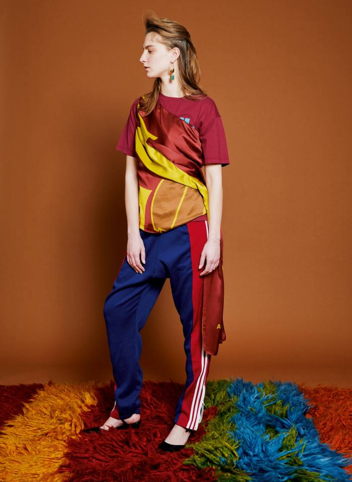 Colville trail top, POA, T-shirt, £210, matchesfashion.com, track pants, POA, and heels, POA