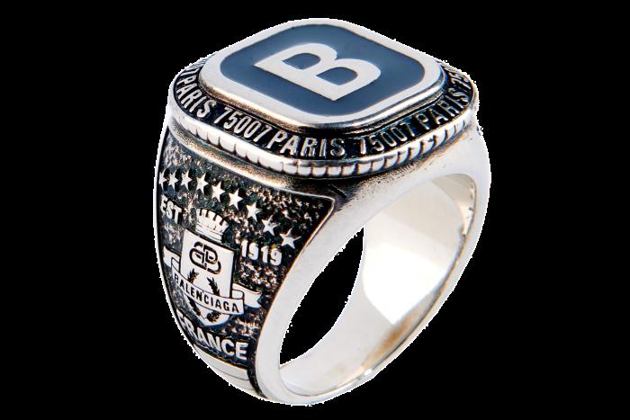 Balenciaga silver bronze Stone B ring, £275