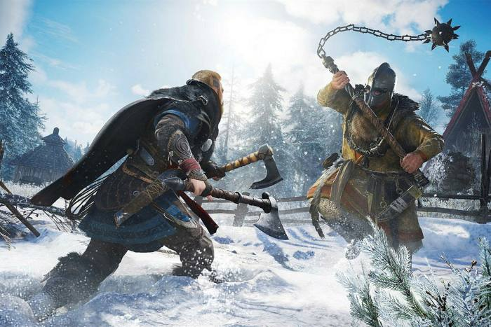 Two characters fight with heavy metal weapons in a snowfield