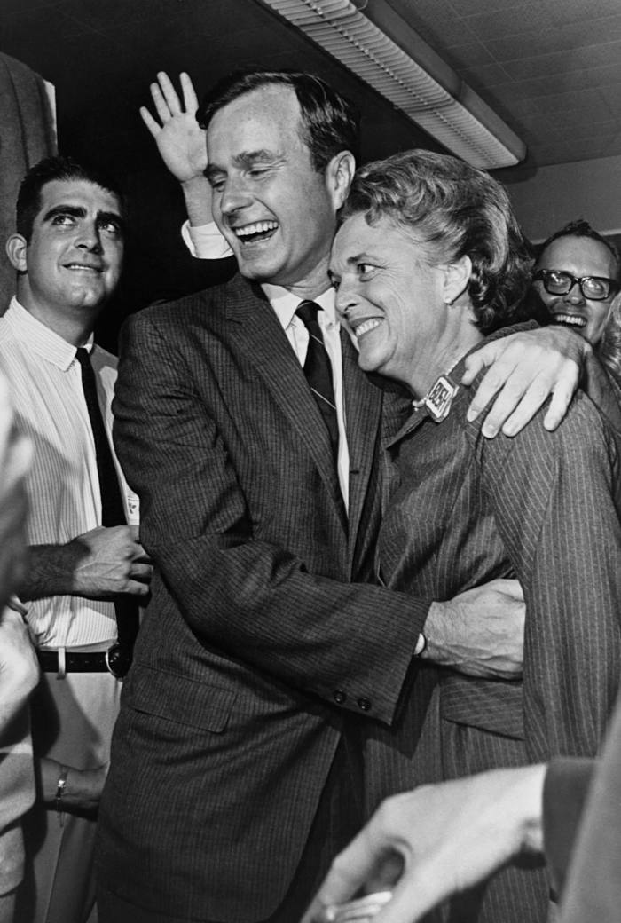 Late President George Bush with his wife Barbara in 1966 – hebegan his political career in Harris County and helped turn Texas into a Republican stronghold (Photo by © CORBIS/Corbis via Getty Images)