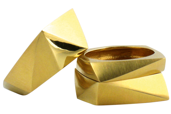 Melanie Eddy gold faceted rings, from £1,600