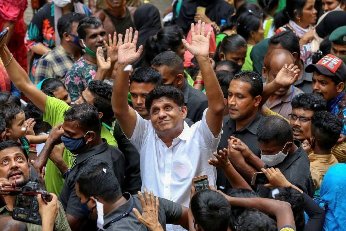 Sajith Premadasa, centre, campaigns in Colombo