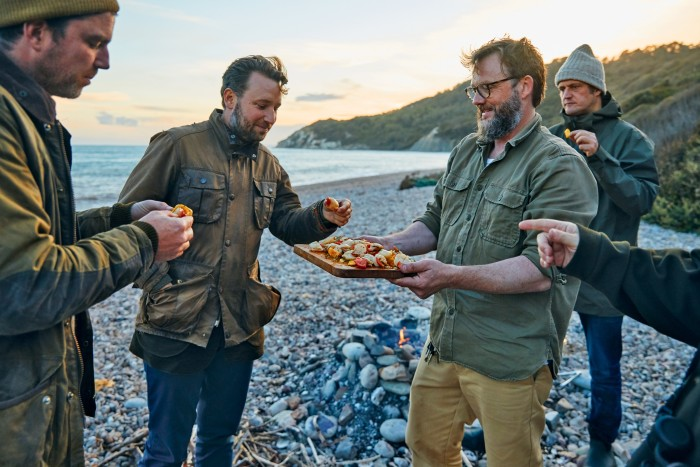 From left, Gill Meller, Oliver Rampley, Nikolaj Juel and Valentine Warner taste Juel's grilled scallops and courgettes