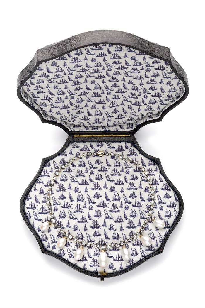 Vintage jewellery box lined with the S/S '21 bespoke boat print, containing the diamond and pearl Button-Back necklace, POA