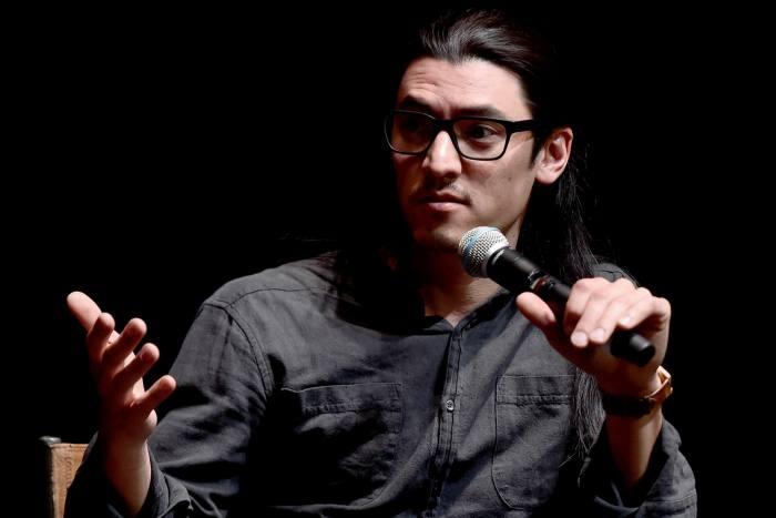 Director Jeff Orlowski onstage at the Sundance Film Festival, 2019