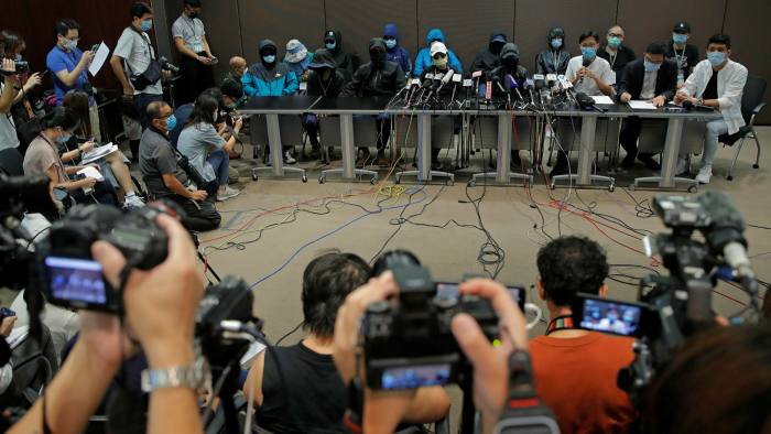 The families of the 12 arrested Hong Kongers at a press conference