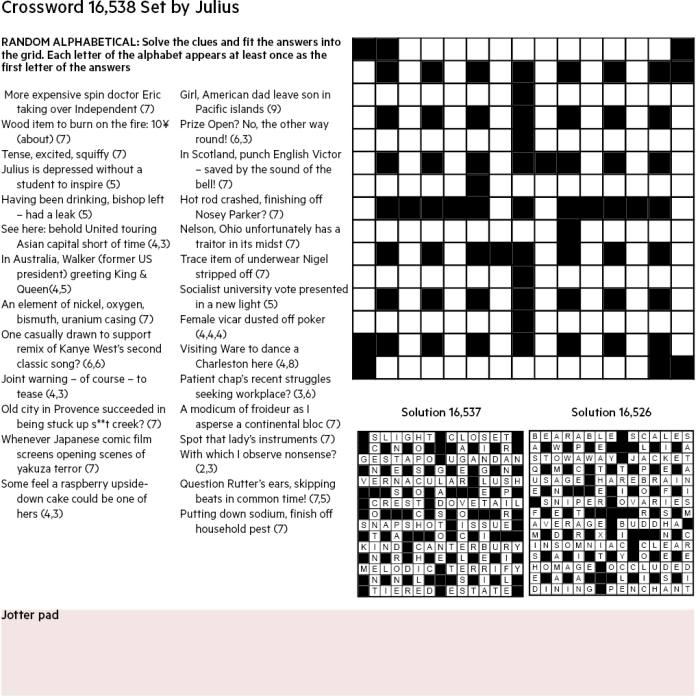 Ft Crossword Number 16 538 Financial Times