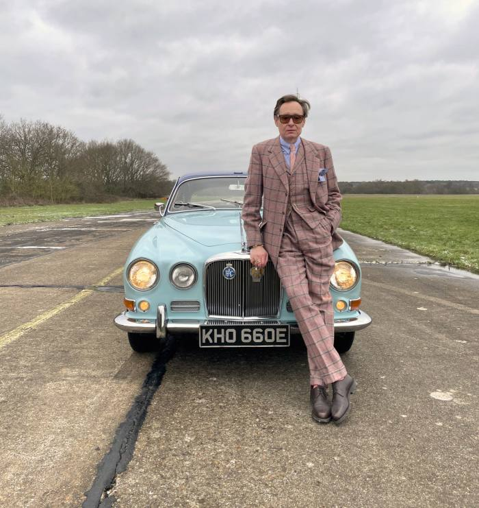 Nick Foulkes with Mountbatten's Jaguar 420, which is being auctioned by Sotheby's for an estimated £10,000-£20,000