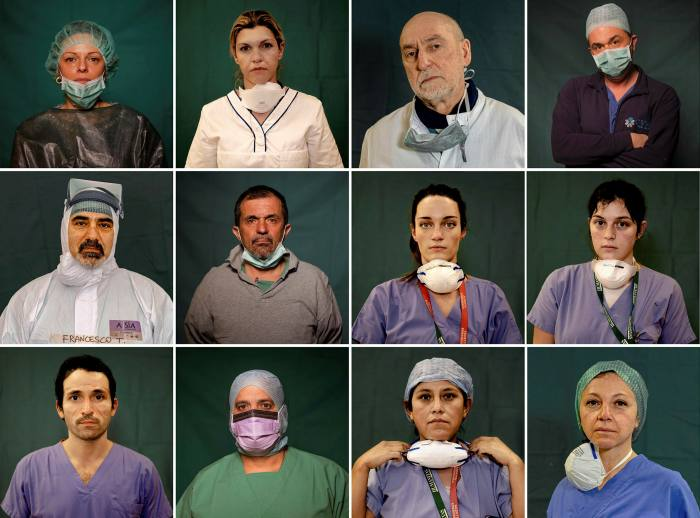 Doctors and nurses on the frontline of the fight against coronavirus in Rome, Bergamo and Brescia