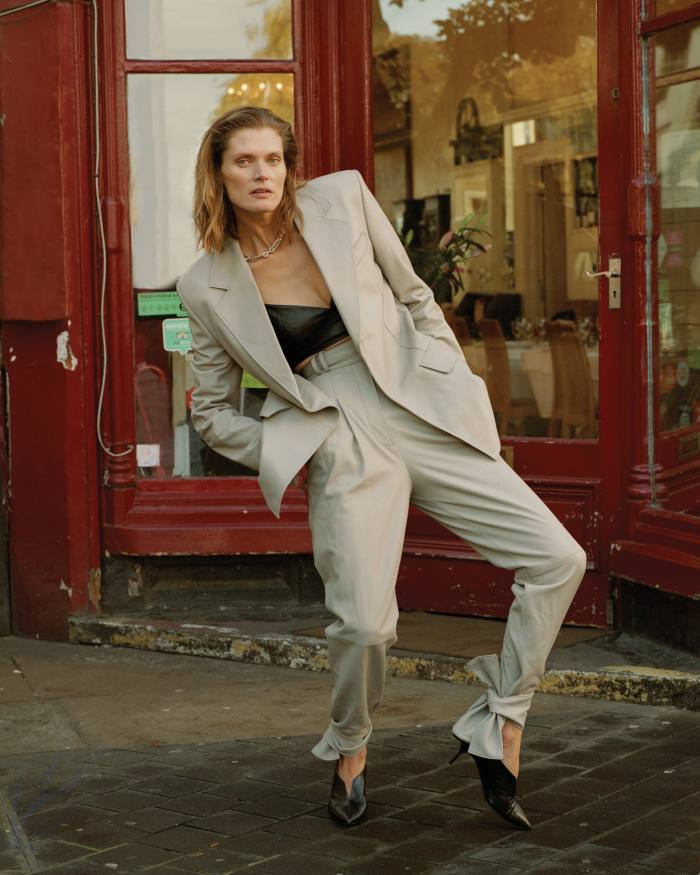 Proenza Schouler leather blazer, €2,875, and matching trousers, €1,940. Intimissimi leather bandeau, £69. Pierre Hardy leather The Secret pumps, €590. Byredo x Charlotte Chesnais silver Value chain, from £1,450