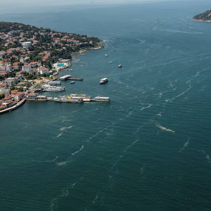 Sea snot and pollution can be seen in the Marmara Sea