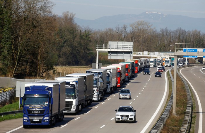 Trucks parked on the German Autobahn near the Swiss border on March 16, 2020 after Germany announced border controls in the wake of the pandemic