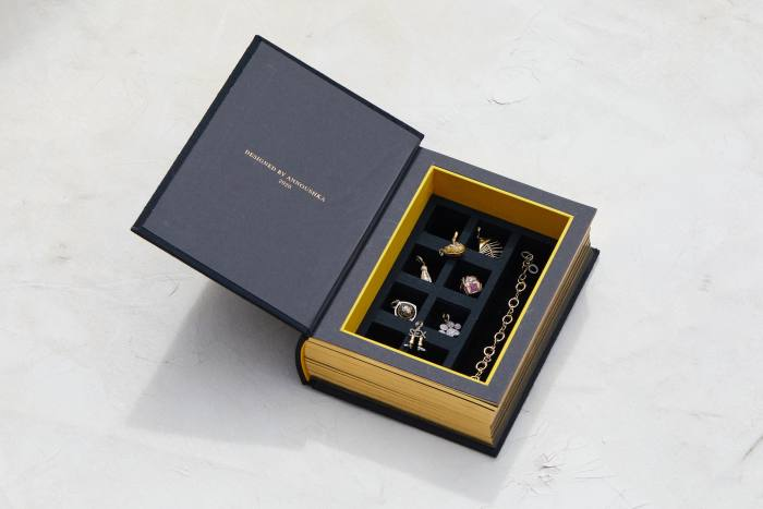 The suede-lined jewellery box has a compartment for each charm