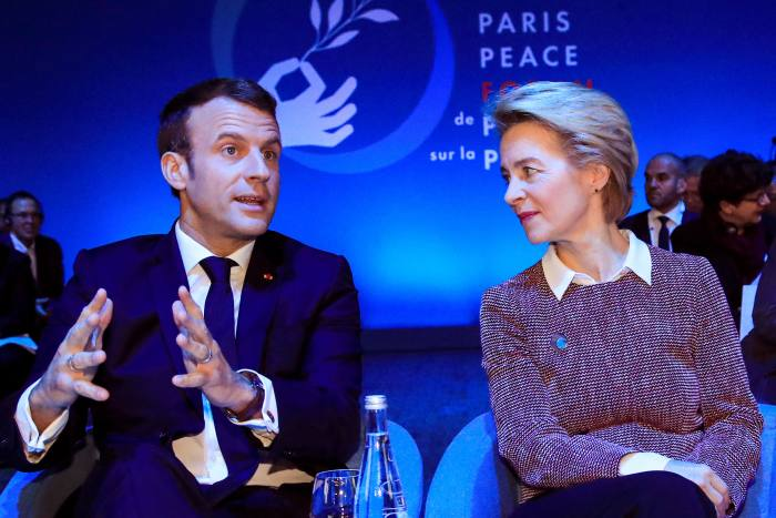 With Emmanuel Macron at the Paris Peace Forum in November 2019. It was the French president who recommended Von der Leyen for the commission's top job, after getting to know her while German defence minister