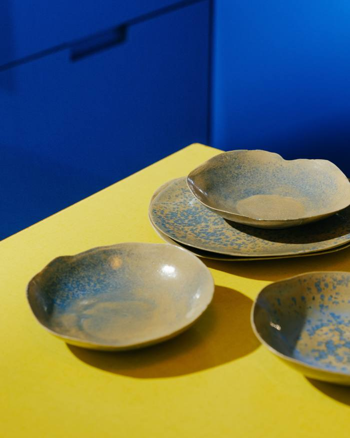 A series of ceramic plates made by his mother