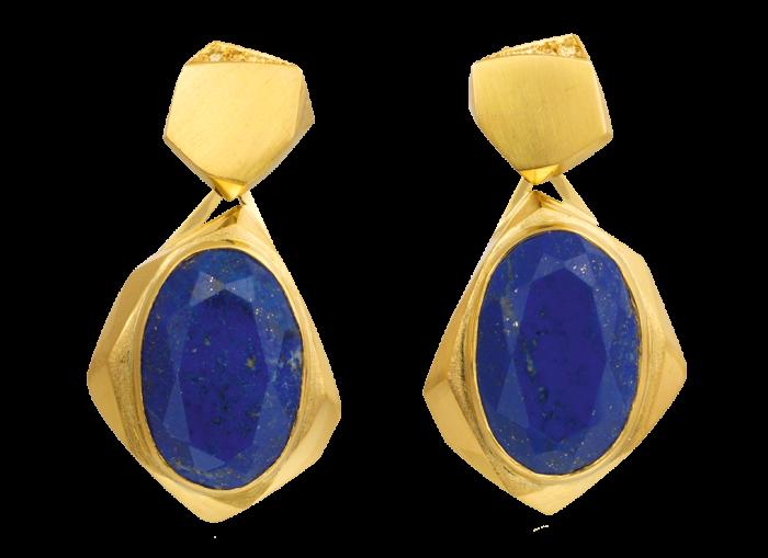 Melanie Eddy gold, lapis lazuli and yellow-diamond drop earrings, POA