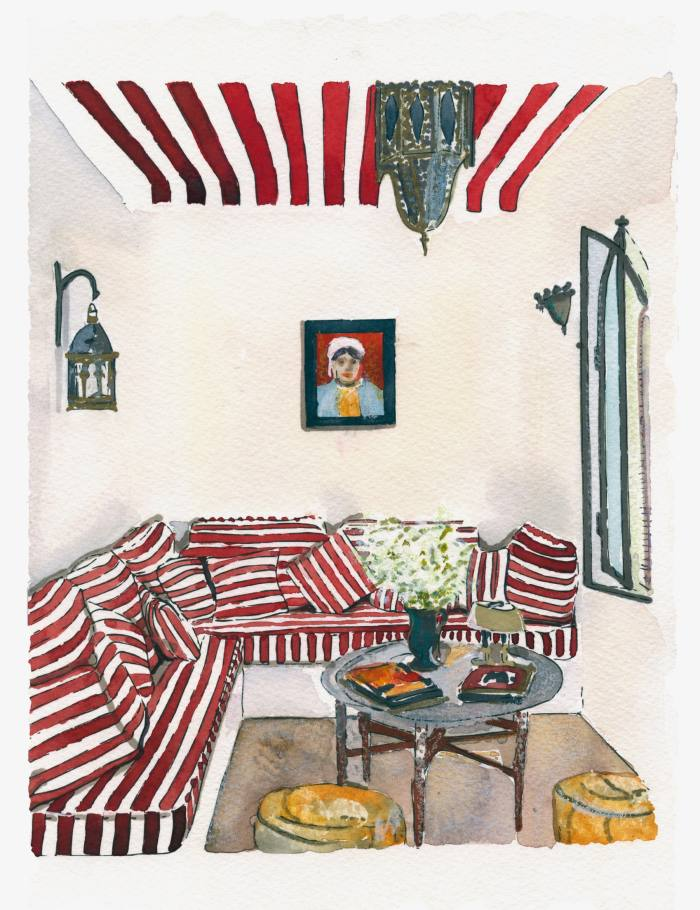 Red Stripes by Sarah-Jane Axelby was inspired by photographs of the Tangier riad of designer Gavin Houghton