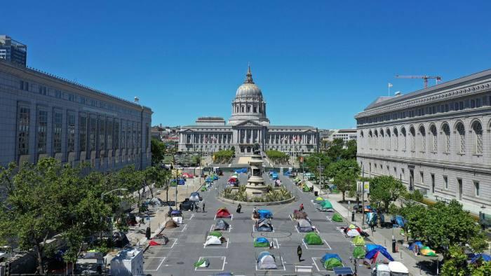 Ein Camp für Obdachlose vor dem Rathaus in San Francisco