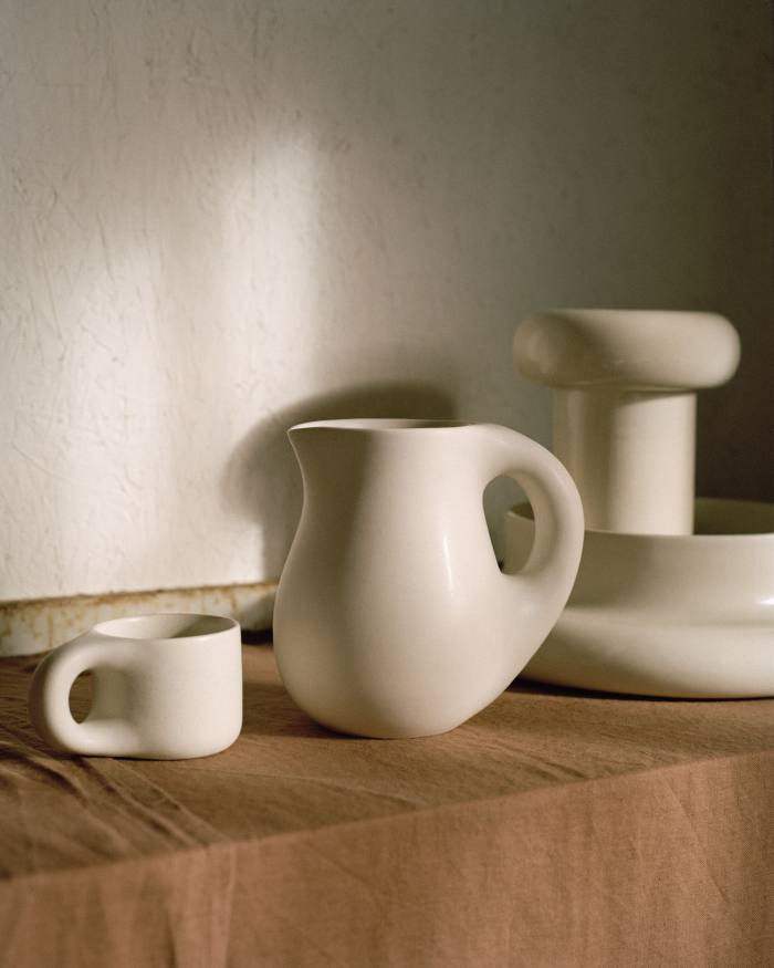 Pitchers, £90, vases, £150, bowls, £130, and mugs, £38,all from the Dough range by Toogood