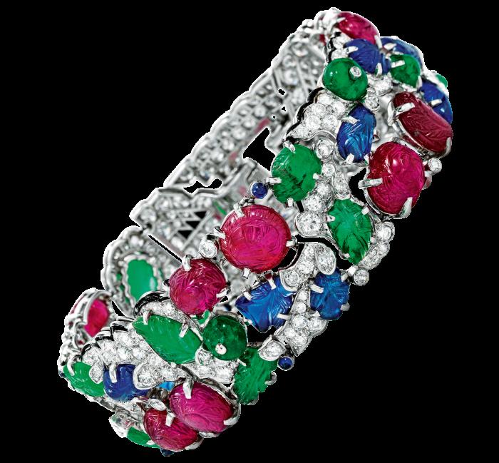 Cartier Gem-set diamond andenamel Tutti Frutti bracelet, dated 1930,sold at Sotheby's for $1.34m