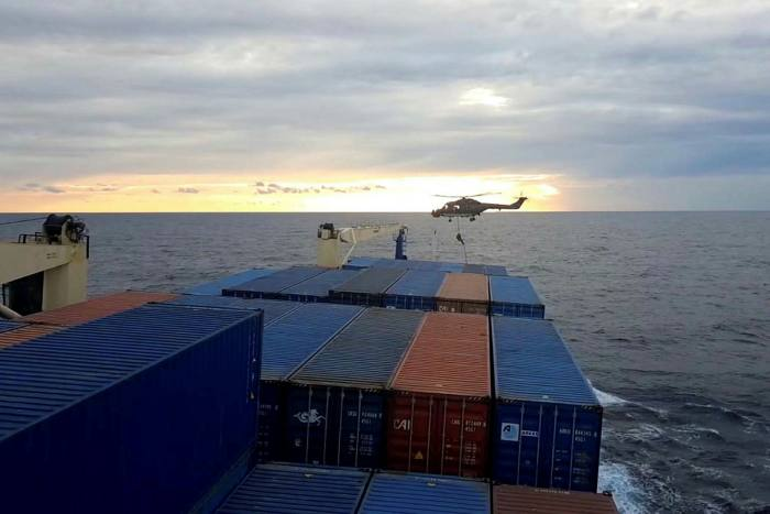 Another video image allegedly shows a German soldier boarding the cargo ship from a helicopter hovering above the deck