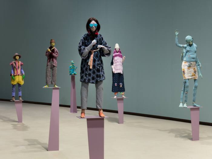 Figures from Wetwang Slack, Francis Upritchard's 2018 Barbican exhibition