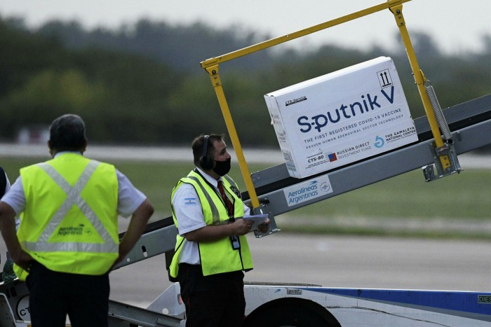 A shipment of 400,000 Sputnik V doses arriving at Buenos Aires airport in Argentina last week