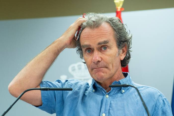 Fernando Simón, Spain's chief epidemiologist, at a press conference in Madrid on August 10. In February, he had insisted: 'There is no virus in Spain'