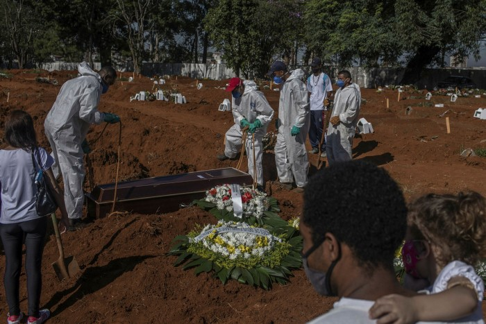 Workers wearing protective equipment bury the casket of a Covid-19 victim at the Vila Formosa cemetery in Sao Pãulo on March 24