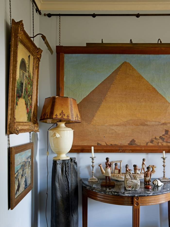 Egyptian objects in the London apartment of antiques dealer Robert Kime