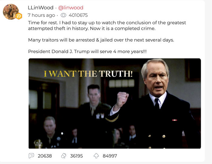 Llinwood. Screenshot from Lin Wood's Parler account