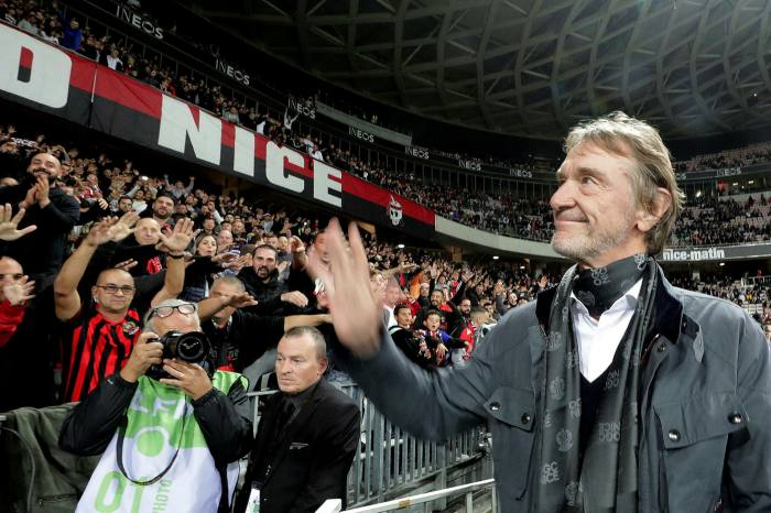 Jim Ratcliffe, owner of French Ligue 1 club Nice, waves to fans before a match against Paris St Germain last year