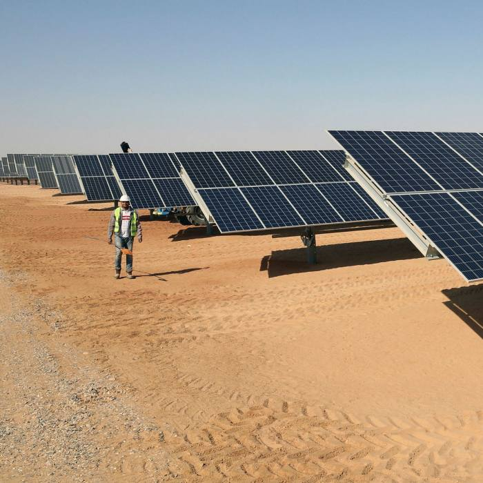 A solar farm in Egypt. Ms Wilkinson adds that 'we have an energy demand tsunami coming towards us and we can't grow the renewable footprint at the same pace'